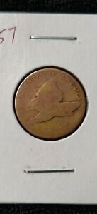 1857 FLYING EAGLE CENT PENNY 'VERY WORN'