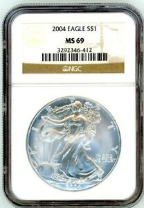 2004 $1 SILVER EAGLE MS69 NGC BROWN LABEL