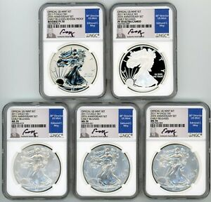 2011 ASE 5 COIN SET MS70/PF70 NGC EARLY RELEASES 25TH ANNIVERSARY ED MOY SIGNED