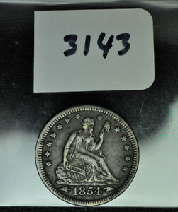 1854   LIBERTY SEATED QUARTER   AU   TYPE 4 NO MOTTO ARROWS AT DATE