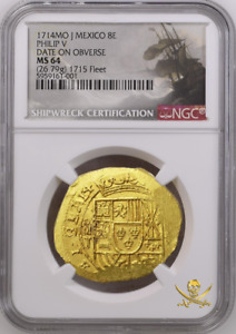 Click now to see the BUY IT NOW Price! 1715 FLEET   1714/GRAT MEXICO 8 ESCUDOS NGC 64