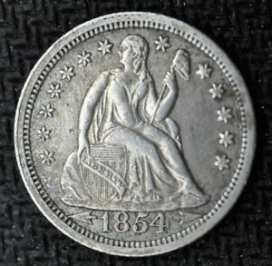 1854   LIBERTY SEATED DIME   TYPE 4 STARS OBVERSE ARROWS AT DATE   CHOICE AU