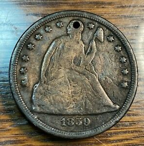 1859 S SEATED DOLLAR VG DETAILS MINTAGE 20 000 EASILY BEST PRICE EBAY CHN