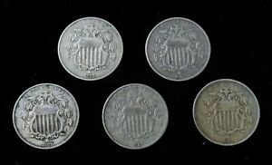 5  1867 UNITED STATES US SHIELD NICKEL 5C CIRCULATED COIN LOT
