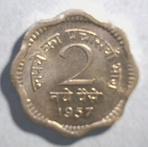 INDIA 1 COIN 2 NAYE PAISE 1961 UNCIRCULATED COPPER NICKEL
