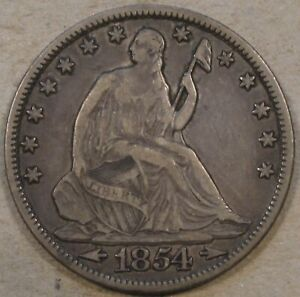 1854 O ARROWS SEATED LIBERTY HALF 50C NEARLY XF NICE ORIGINAL COIN AS PICTURED
