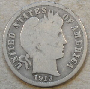 1913 S BARBER DIME 10C AS PICTURED