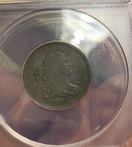 1804 1/2C DRAPED BUST HALF CENT  SPIKED CHIN  ANACS VF30 DETAILS ERROR ???