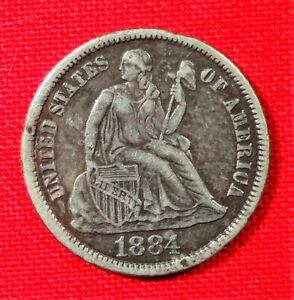 1884 P SILVER LIBERTY SEATED DIME
