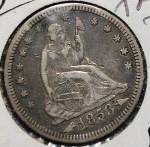 1853 SEATED LIBERTY QUARTER ARROWS AND RAYS   HIGH GRADE ORIGINAL SURFACES