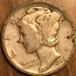 1938 UNITED STATES 10 CENTS MERCURY DIME COIN