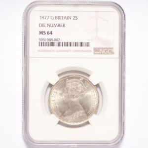 Click now to see the BUY IT NOW Price! 1877 GREAT BRITAIN  FLORIN  TWO SHILLING DIE NUMBER NGC MS64