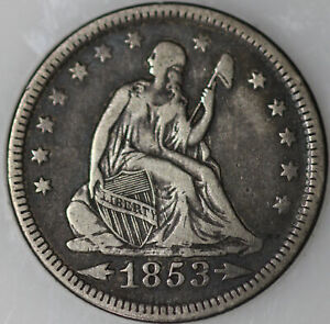 1853 P SEATED LIBERTY QUARTER ARROWS & RAYS 90  SILVER [SN03]