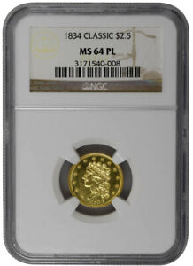 1834 $2.50 CLASSIC HEAD MS64 PL SUPERB MIRROR FIELDS GOLD COIN