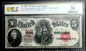 Click now to see the BUY IT NOW Price! 1907 SERIES $5 FR 91 US LEGAL TENDER NOTE WOODCHOPPER  PCBLIC ERROR PCGS VF 20