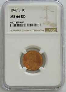 1947 S LINCOLN WHEAT CENT COIN NGC MINT STATE 66 RED