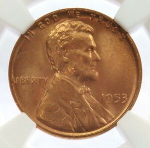 1953 LINCOLN WHEAT CENT PENNY NGC MINT STATE 66 RD