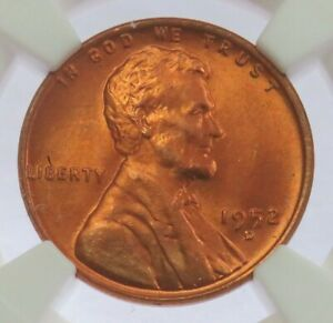 1952 D LINCOLN WHEAT CENT PENNY NGC MINT STATE 66 RD