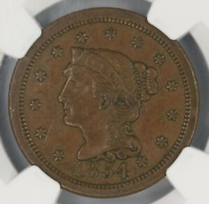 1854 BRAIDED HAIR LARGE CENT. NGC AU50. STACKS 57TH ST. COLLECTION. ET3445/BQN