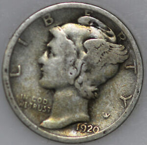 1920 P MERCURY DIME 90  SILVER. YOU WILL RECEIVE THE COIN SHOWN