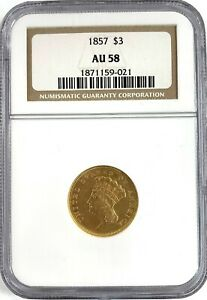 1857 US MINT $3 DOLLAR LIBERTY HEAD GOLD COIN NGC AU58