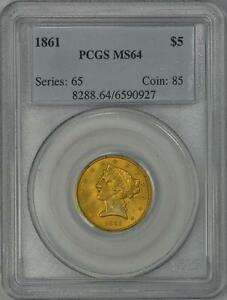 Click now to see the BUY IT NOW Price! 1861 $5 LIBERTY HEAD HALF EAGLE GOLD COIN  TYPE 1 NO MOTTO   PCGS MS64