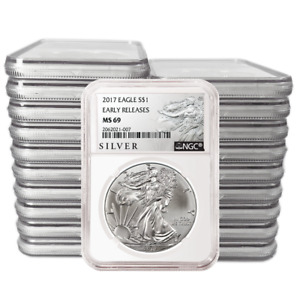 Click now to see the BUY IT NOW Price! LOT OF 500   2017 $1 AMERICAN SILVER EAGLE NGC MS69 EARLY RELEASES ALS ER LABEL