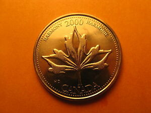 CANADA YEAR 2000 COMMEMORATIVE HARMONY 25 CENT MINT COIN.