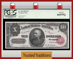 Click now to see the BUY IT NOW Price! TT  FR 368 1890 $10 TREASURY NOTE  ORNATE BACK RED SEAL PCGS 66 PPQ GEM NEW