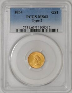 Click now to see the BUY IT NOW Price! 1854 TYPE 2 $ GOLD INDIAN MS63 PCGS