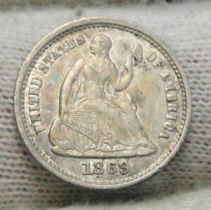 1869S SEATED LIBERTY HALF DIME H10C    KEY DATE ONLY 230 000 MINTED  6430