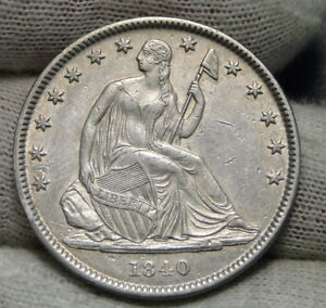 1840 O SEATED LIBERTY HALF DOLLAR 50 CENTS.  KEY DATE   855 100 MINTED  6516