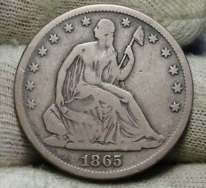 1865S SEATED LIBERTY HALF DOLLAR 50 CENTS. KEY DATE 675 000 MINTED  6576