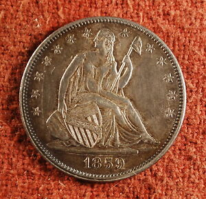 1859 US AMERICAN ALMOST UNCIRCULATED SEATED HALF DOLLAR