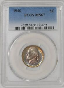 Click now to see the BUY IT NOW Price! 1946 JEFFERSON NICKEL 5C MS67 80  STEPS MONSTER COLOR PCGS