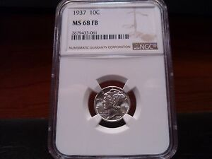 Click now to see the BUY IT NOW Price! 1937 MS68FB  FULL SEPARATED BANDS  MERCURY DIME NGC CERTIFIED SUPERB GEM