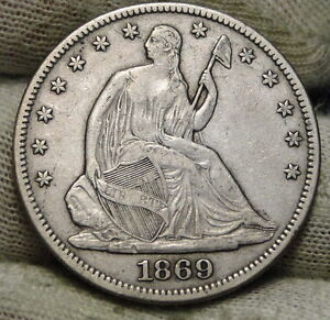 1869 SEATED LIBERTY HALF DOLLAR 50 CENTS. KEY DATE 795 300 MINTED NICE  2503