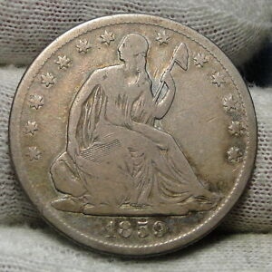 1859S SEATED LIBERTY HALF DOLLAR 50 CENTS   KEY DATE ONLY 566 000 MINTED  6339