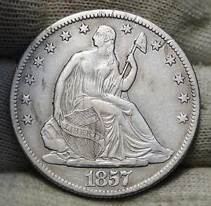 1857 O SEATED LIBERTY HALF DOLLAR 50 CENTS. KEY DATE 818 000 MINTED   5578