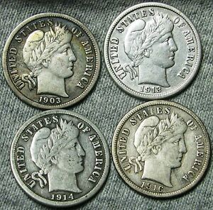 1903  1913  1914  1916 BARBER DIMES US COIN      LOT     W139