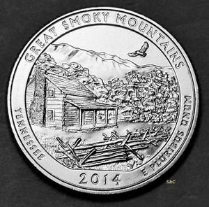 2014 D MINT   GREAT SMOKY MOUNTAINS NTL PARK  TN  QUARTER UNCIRCULATED CLAD