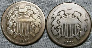 1865   1871 TWO CENT PIECES 2CP     TYPE COIN LOT     A773