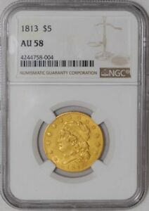 1813 $5 GOLD CAPPED BUST AU58 NGC