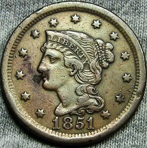1851 BRAIDED HAIR LARGE CENT PENNY     TYPE COIN     D901