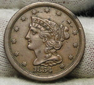 1854 BRAIDED HAIR HALF CENT    ONLY 55 358 MINTED . NICE COIN  6503