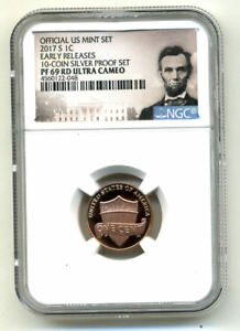 2017 S NGC PR69 RD ULTRA CAMEO PROOF LINCOLN SHIELD CENT PENNY UCAM COIN US 847