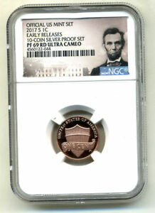 2017 S NGC BLUE LABEL PR69 RD ULTRA CAMEO PROOF LINCOLN SHIELD CENT PENNY COIN