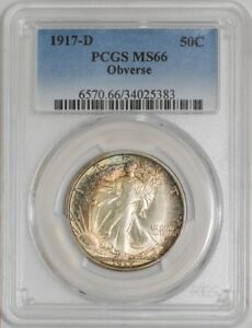 Click now to see the BUY IT NOW Price! 1917 D WALKING LIBERTY HALF 50C OBVERSE MS66 COLOR PCGS