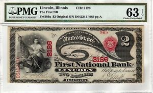 Click now to see the BUY IT NOW Price! $2 1865 ORIGINAL SERIES LAZY DUCE LINCOLN IL. PMG CHOICE UNCIRCULATED 63 EPQ