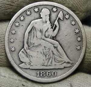 1860S SEATED LIBERTY HALF DOLLAR 50 CENTS   KEY DATE ONLY 472 000 MINTED  6587